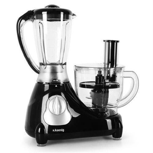 H. Koenig Genie 6 Robot de cocina multifunción ( mixer mezclador, picadora, trituradora, rallador, amasadora, batidora, licuadora, exprimidora, 1,4 litros, 600W)