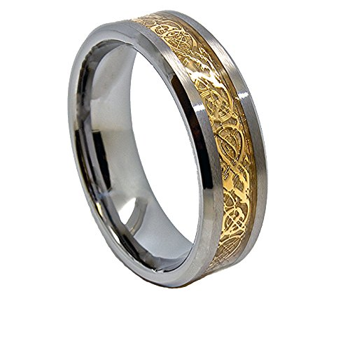 8mm Golden Colored Celtic Dragon Inlay Satin Tungsten Wedding Ring Size 4