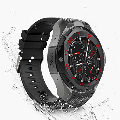 Smartwatch Phone,Android iOS Fitness app, Google Assistant Support Sim GPS Built-in 2g RAM 16g ROM Sport IP67 Waterproof 3G Smart Watch (Black)