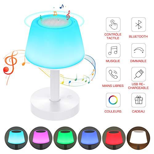 Lampe de Chevet Contrôle Tactile Enceinte Bluetooth, Tikitaka Lampe de Table Rechargeable, Mains Libres, Luminosité Réglable, Couleurs de Changement