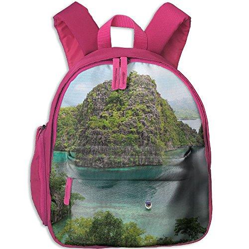 SarahKen Ocean Landscape Of Majestic Cliff In Philippines Wild Hot Nature Kids Children School Backpack Pink 12.5