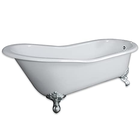 61 Cast Iron Slipper Tub With 7 Faucet Hole Drillings Chrome
