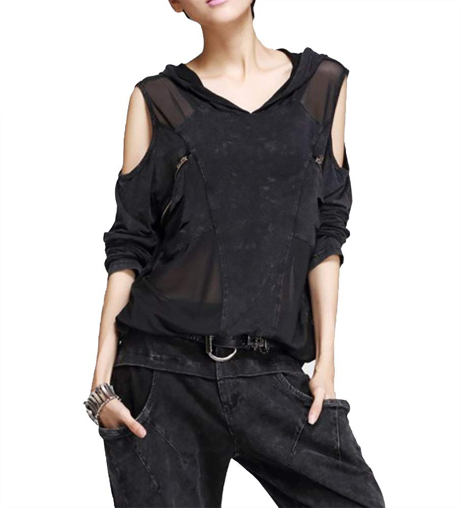 Nite closet Punk Tshirts for Women Steampunk Tops Cut Out Cool Shoulder Shirts Black 3