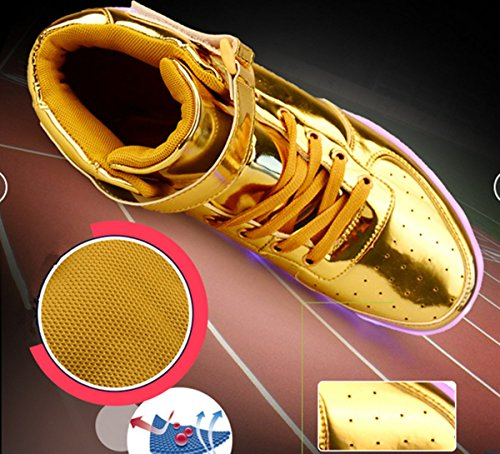 DoGeek LED Schuhe Kinder Damen 7 Farbe USB Aufladen Leuchtend Sportschuhe LED Kinder Farbwechsel Sneaker Turnschuhe für Herren Damen Gold
