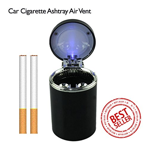Mr. Car Ashtray | Fireproof Cylinder Shaped Car Cigarette Ashtray with Blue LED Light | Premium PVC, Aluminum, and Metal Materials | Superb Fit on Any Standard Cup Holder and Air Vent | 661