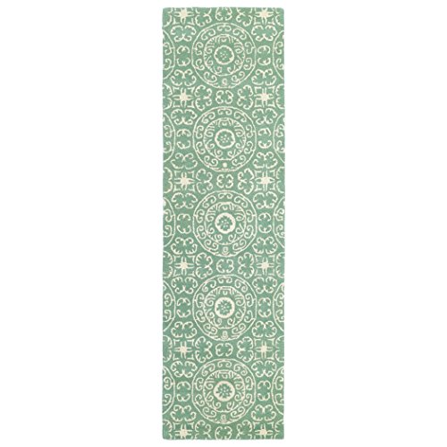 Kaleen Rugs Evolution Hand Tufted Area Rug  Mint Cream  2 3  X 8 Runner