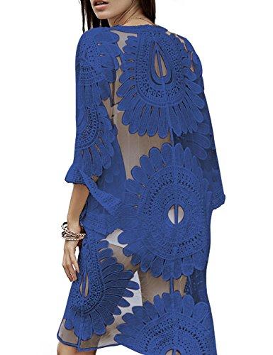 (Free Rose Women's Floral Crochet Lace Beach Swimsuit Cover Ups Long Vintage Kimono Cardigan (Royal Blue))