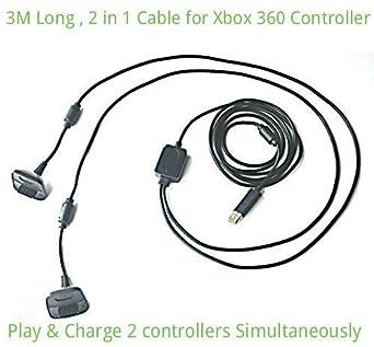 2 in1 3m Largo USB Jugar y Cargador Cargando Cable Para Xbox ...