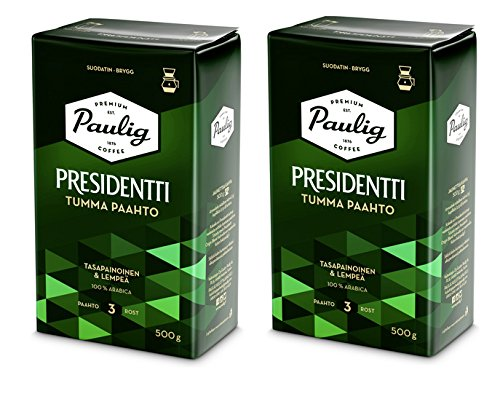 2 x Paulig Presidentti Dark Roast Coffee 500g (Pack of Two)
