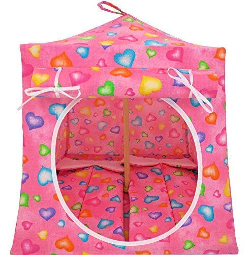Toy Play Pop Up Tent, 2 Sleeping Bags, Pink, Heart Print Fabric for Dolls, Stuffed Animals