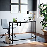 Nathan James 52001 Jayde Small Glass Laptop Metal Console Table, Computer Desk, Black