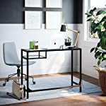 Nathan James Jayde Small Glass Laptop Metal Console Table, Computer Desk, Black