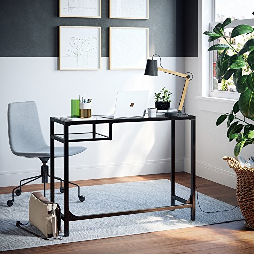 Nathan James 52001 Jayde Small Glass Laptop Metal Console Table, Computer Desk, Black Black Glass Console Table