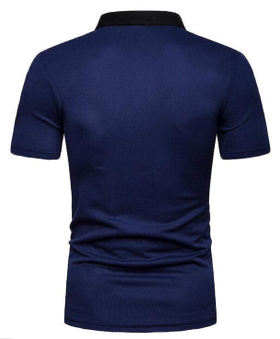 Hajotrawa Mens Regular Fit Slim Classic Fit Color Block Lapel Short-Sleeve Polo Shirt