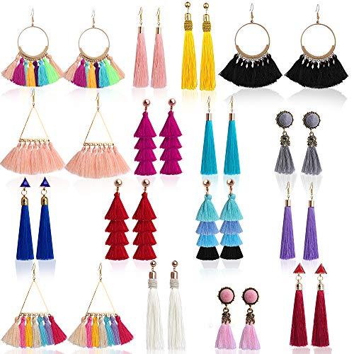 Outee 16 Pairs Tassel Earrings Colorful Long Layered Thread Ball Dangle Earrings Tassel Hoop Fringe Bohemian Tiered Tassel Drop Earrings Stud Earrings Set Fashion Jewelry for Girls Women Gift ()