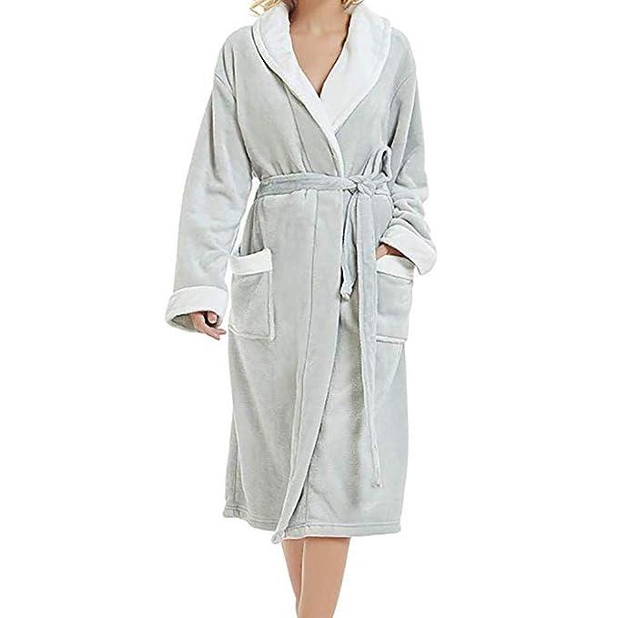 VJGOAL Invierno de Las Mujeres Bata de Noche Suave Transpirable Suave Alargado mantón Albornoz Bata Ropa de Dormir Pijamas de Manga Larga Bata de baño: ...