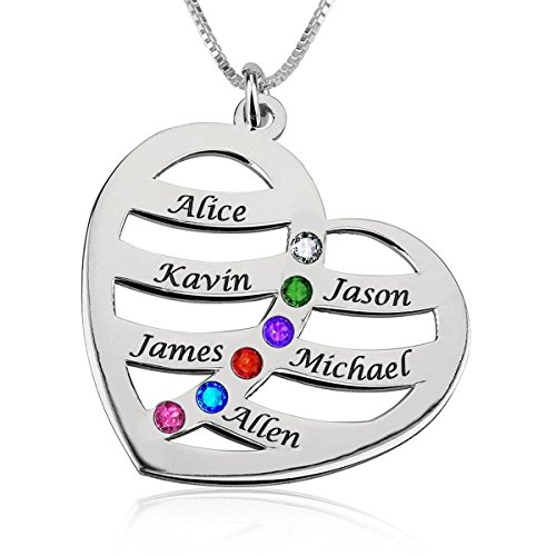 Ouslier 925 Sterling Silver Personalized Heart Pendant Name Necklace with Birthstone Custom Made with Any Names (Silver Six Names) ()