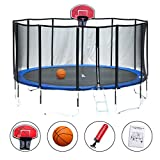 ExacMe Luxury Fibre pole 15' Round Trampoline 6W Legs w/ Enclosure Net & Safety Pad & Ladder & Basketball Hoop Orange L015