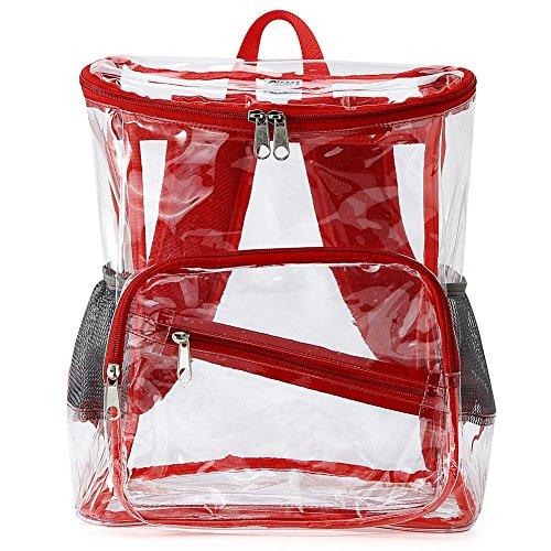 Zicac Girls Transparent Sac d'école Sac à dos en PVC Transparent avec bandoulière réglable et poches latérales à réseau Rouge