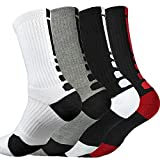 4 Pack Men Dri-fit Cushion Basketball Athletic Sports Outdoor Compression Crew Sock