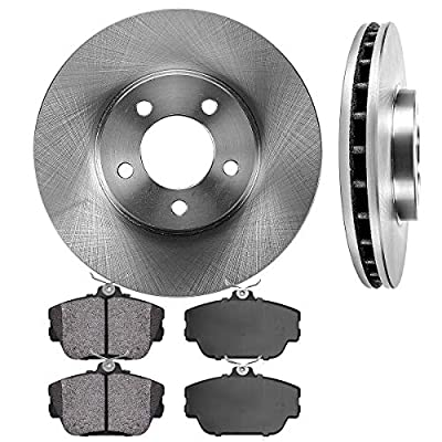 CRK13507 FRONT 293 mm Premium OE 5 Lug [2] Brake Disc Rotors + [4] Metallic Brake Pads: Automotive