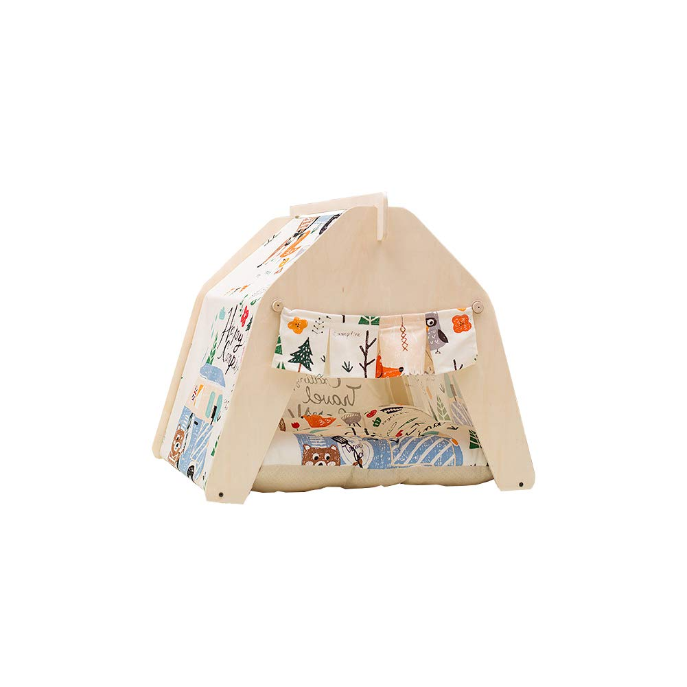 Small YZONG Portable Pet Tents Dog Cat Bed Pet Teepee Pet House Kennel,Dog(Puppy) & Cat Tents,With Cushion,Suitable For Small Medium Animals,S