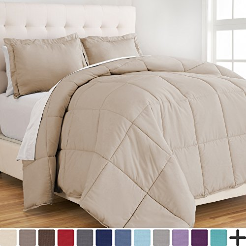 Ultra-Soft Premium 1800 Series Goose Down Alternative Comforter Set - Hypoallergenic - All Season - Plush Fiberfill, Twin Extra Long (Twin XL, Sand)