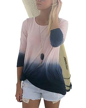 Yonglan Mujer Cuello Redondo Mangas Largas Camisetas Delgado Casual Color de Degradado T Shirt Blusas Camisas