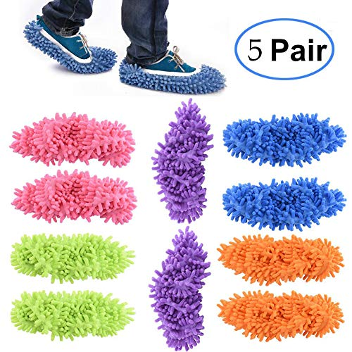 Dust Mop Slippers, 5 Pairs Washable Microfiber Cleaning Slippers, Lazy House Floor Shoe Cover - for Home, Kitchen & Office (5 Pairs 5 Colors)