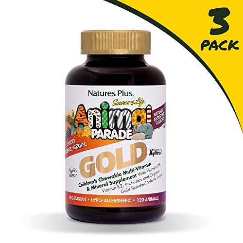 - Natures Plus Animal Parade Source of Life Gold Childrens Multivitamin (3 Pack) - Assorted Cherry, Orange & Grape Flavors - 180 Chewable Animal Shaped Tablets - Organic, Gluten Free - 180 Servings