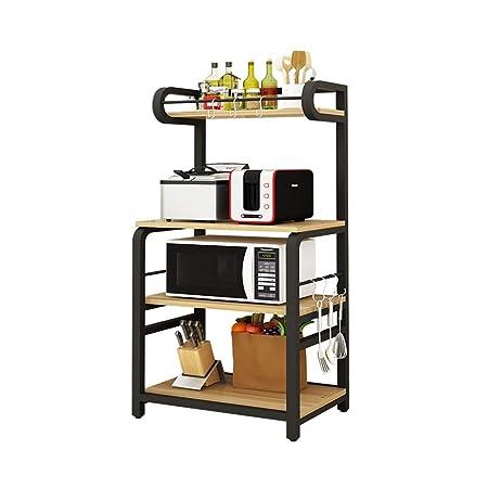 Horno de microondas, estante de almacenamiento, vajilla de cocina ...