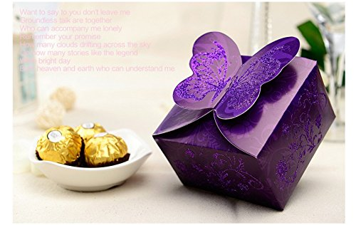 Italian Wedding Favor Boxes (Worldoor 50ps Italian European holiday wedding candy bag packing Love Bag, wedding candy boxes, wedding creative yarn bags,butterfly Favor boxes)
