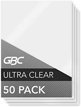 GBC Laminating Sheets Thermal Laminating Ultra Clear 10mil HeatSeal 50 Pack
