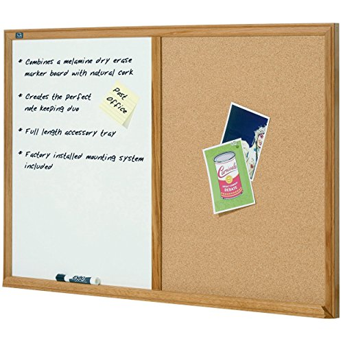 Quartet S554 Bulletin/Dry-Erase Board, Melamine/Cork, 48 x 36, White/Brown, Oak Finish Frame