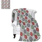 "warmfamily Retro Lightweight Blanket Knitting Balls Crochet Hand Made Theme Domestic Hobby Vintage Theme Custom Design Cozy Flannel Blanket 70""x50"" Coral Grey Reseda Green"