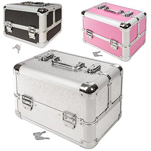 TecTake Kosmetikkoffer Schminkkoffer Beauty Case Hartschale Schmuckkoffer Friseurkoffer -diverse Farben- (Silber)