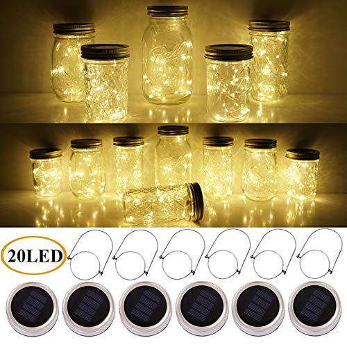 SmilingStore Mason Jar Lid Solar String Lights, Warm White 20 LED Waterproof Hanging Fairy Starry Lighting for Regular Mouth Jars Patio Wedding Lantern Table Decor(6 Hangers Included/No Jars)
