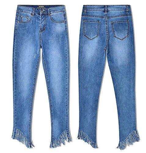 Mezclilla Washed Mxnet Blue Cintura Slim Irregular Length De Alta Puntos Mujer Tassel Denim Pantalones Stretch Para qqUHEr0x