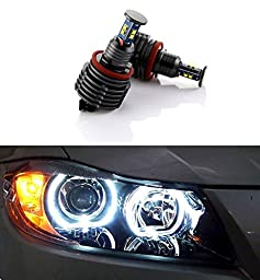 Autolizer H8 64W CREE LED Angel Eye Halo Ring Bulbs 6000K Xenon White BMW Headlights Lamps Marker for BMW E60 E61 E90 E92 E70 E71 E82 E89 1 3 5 X5 X6 Z4 (Black)