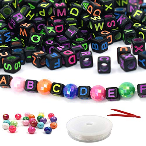 Mini Beads Cube (HZOnline 800pcs Black Acrylic Letter Beads with Colorful Letters Alphabet