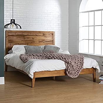 Amazon Com Rustic Farmhouse Platform Bed W Headboard