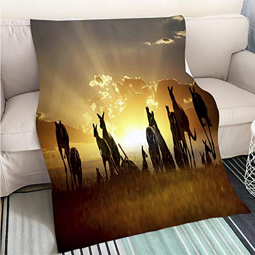 BEICICI Custom homelife Abstract Home Decor Printing Blanket Australian Outback Kangaroo on The Sunset Series Sofa Bed or Bed 3D Printing Cool - Series Kit Rack Outback