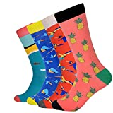 Joynée Men's Combed Cotton Colorful Patterned Casual Crew Socks