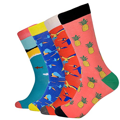 JOYNÉE Men's Novelty Combed Cotton Colorful Patterned Casual Crew Dress Socks 4 Pack,Assorted 1,Sock Size:10-13 (Dress Men Patterned Socks)