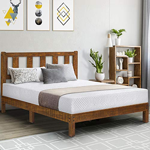 Olee Sleep VC40SF03Q 14 Inch Deluxe Solid Platform Headboard,Wood Bed Frame, Queen, Natural ()