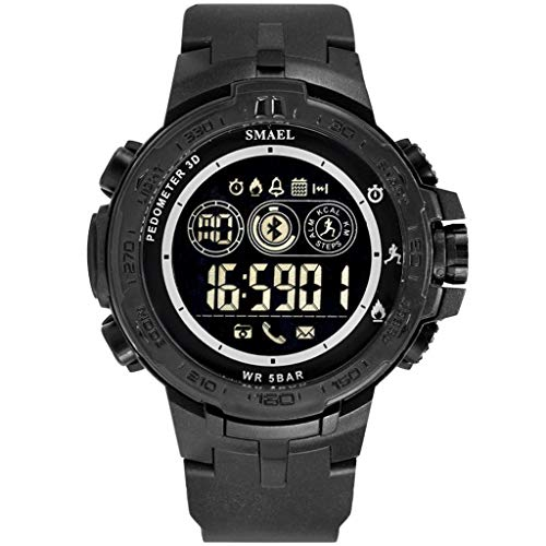 - WoCoo Bluetooth Sport Waterproof Smartwatch with Remote Camera Call Reminder Digital Wristwatch Compatible with iOS Android(Black)