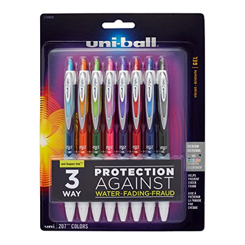 Gel Pens Uni Grip Ball (uni-ball 207 Colors Retractable Gel Pens, Medium Point (0.7mm), Assorted, 8 Count)
