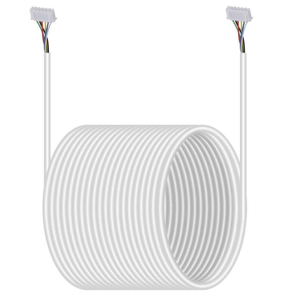 20M Speaker Cable, 6 Core White Copper Cable Flexible Cable 0.3mm² for Video Door Phone System by Dioche