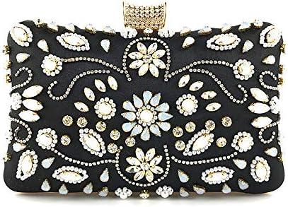 ハンドバッグ - 女性のヨーロッパやアメリカのスタイル手ビーズのダイヤモンドのイブニングバッグファッションハンドバッグ、誕生日ギフト、12センチメートル* 19.5センチメートル* 6センチメートル よくできた (Color : Black)