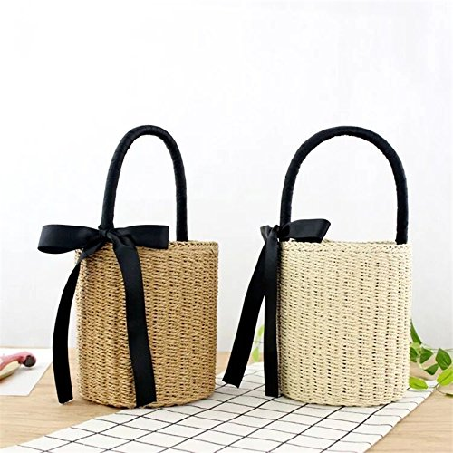 Brown Beach Ribbons Bali Straw Handmade Bags Handbags Basket Rattan Wicker Weaving Sorfier Knitted Bohemian Bags Women 1wTWYqZ